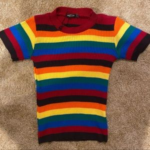 Nasty Gal Rainbow Striped Sweater NWOT